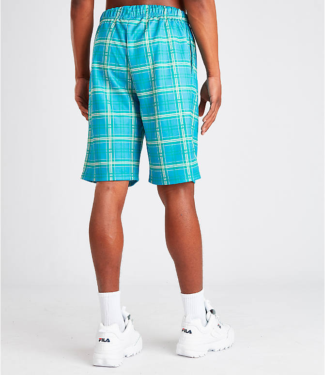 Back Right view of Men's Fila Buzz Shorts in Blue Plaid