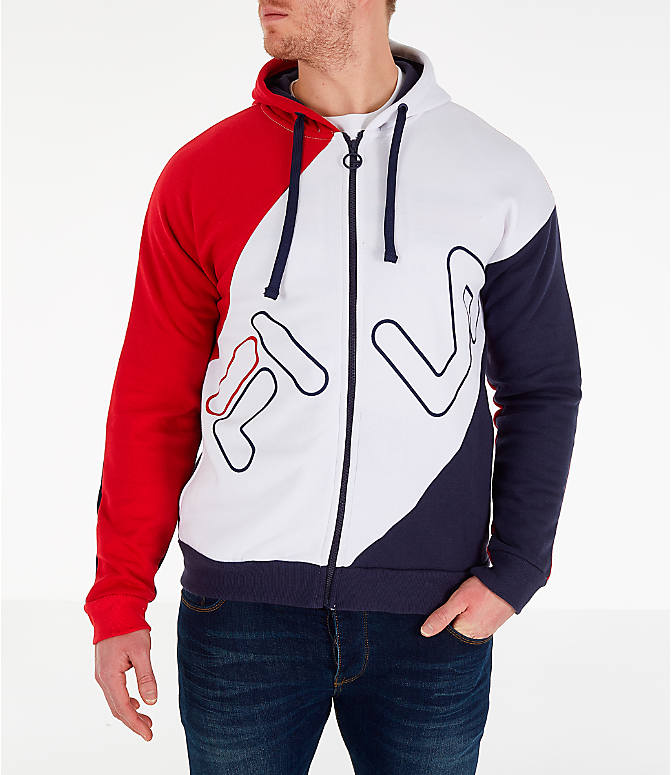 Front view of Men's Fila Lazaro Full-Zip Hoodie in Red/White/Blue