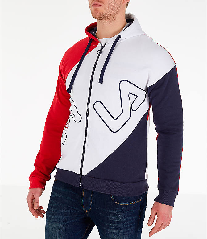Front Three Quarter view of Men's Fila Lazaro Full-Zip Hoodie in Red/White/Blue