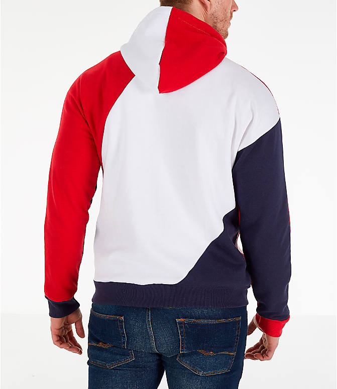 Back Right view of Men's Fila Lazaro Full-Zip Hoodie in Red/White/Blue
