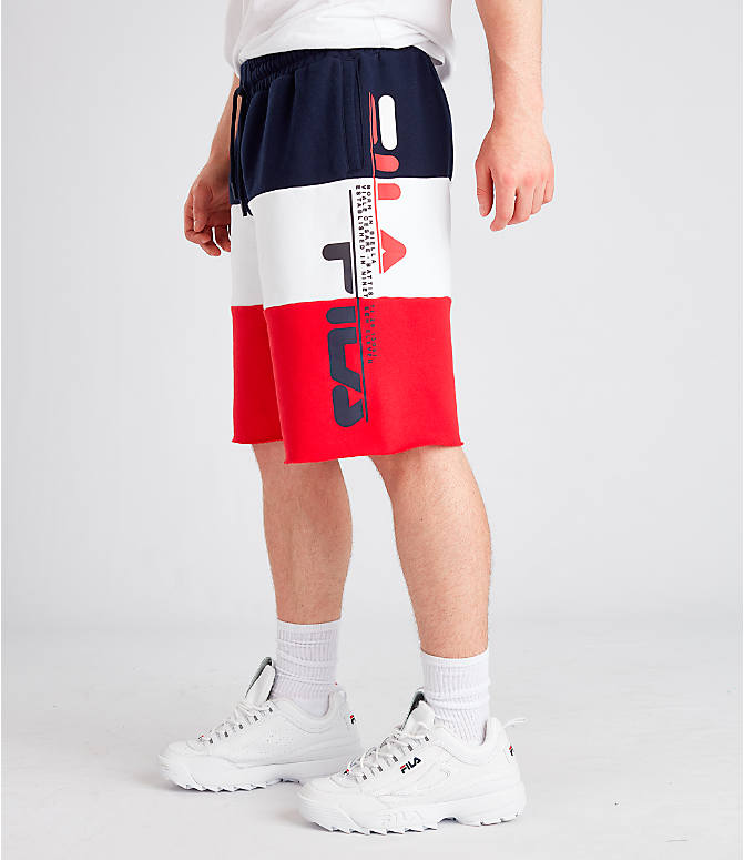 Front view of Men's Fila Stu Color Block Shorts in Navy