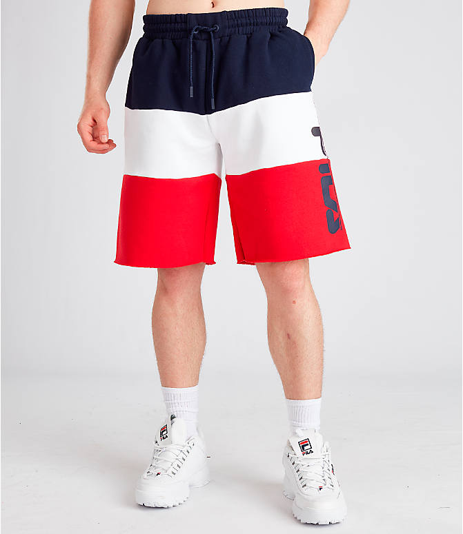 Front Three Quarter view of Men's Fila Stu Color Block Shorts in Navy