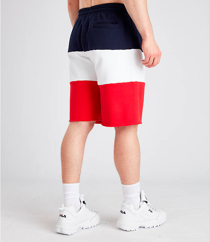 Back Right view of Men's Fila Stu Color Block Shorts in Navy