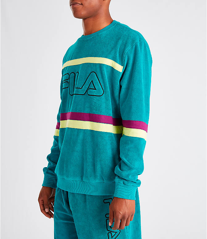 Front Three Quarter view of Men's Fila Jace Terry Crewneck Sweatshirt in Teal/Purple