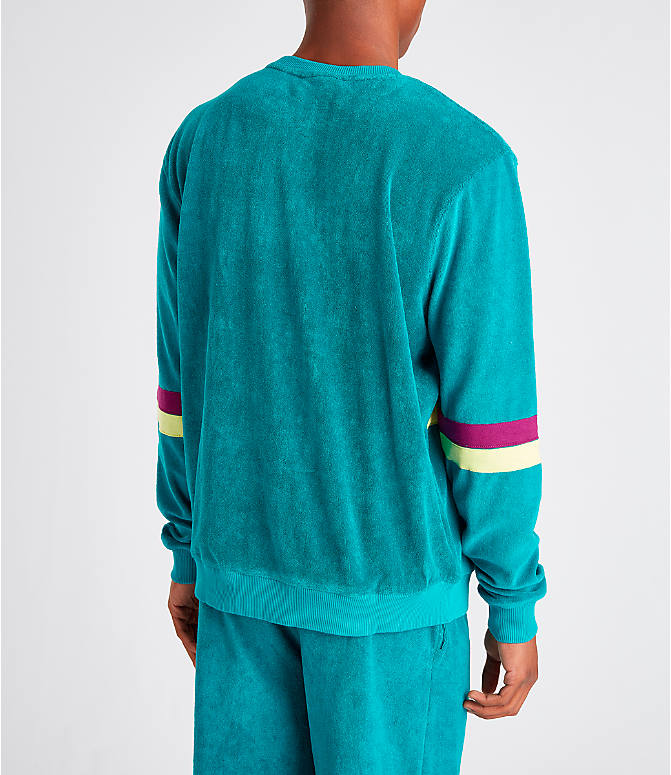 Back Right view of Men's Fila Jace Terry Crewneck Sweatshirt in Teal/Purple