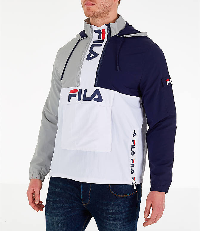 Front Three Quarter view of Men's Fila Parallax Wind Jacket in Grey/Navy