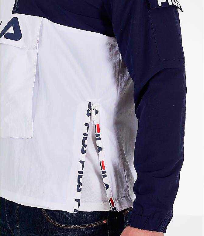 Back Right view of Men's Fila Parallax Wind Jacket in Grey/Navy