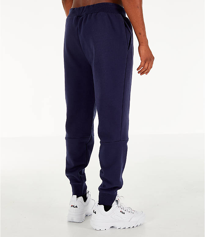 Back Right view of Men's FILA Topher Fleece Jogger Pants in Navy