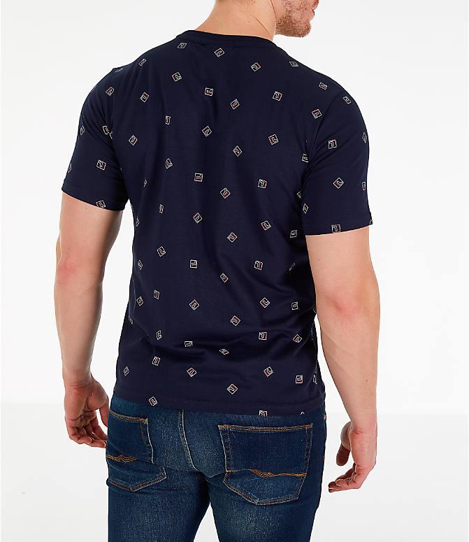 Back Right view of Men's Fila Reign T-Shirt in Navy