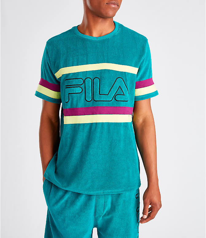 Front view of Men's Fila Graham Terry T-Shirt in Teal/Purple
