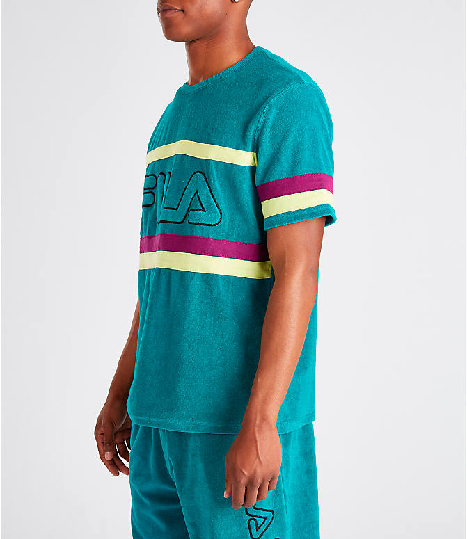 Front Three Quarter view of Men's Fila Graham Terry T-Shirt in Teal/Purple