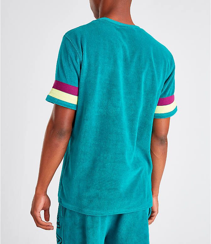 Back Left view of Men's Fila Graham Terry T-Shirt in Teal/Purple