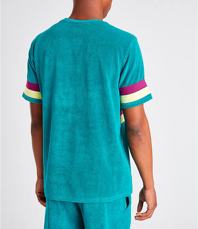 Back Right view of Men's Fila Graham Terry T-Shirt in Teal/Purple
