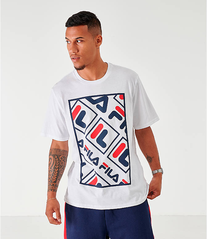 Front view of Men's Fila Ado Graphic T-Shirt in White/Navy/Red
