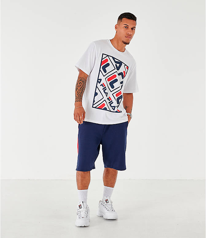 Front Three Quarter view of Men's Fila Ado Graphic T-Shirt in White/Navy/Red