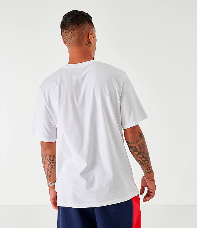 Back Left view of Men's Fila Ado Graphic T-Shirt in White/Navy/Red