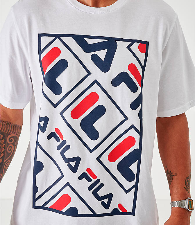 Back Right view of Men's Fila Ado Graphic T-Shirt in White/Navy/Red