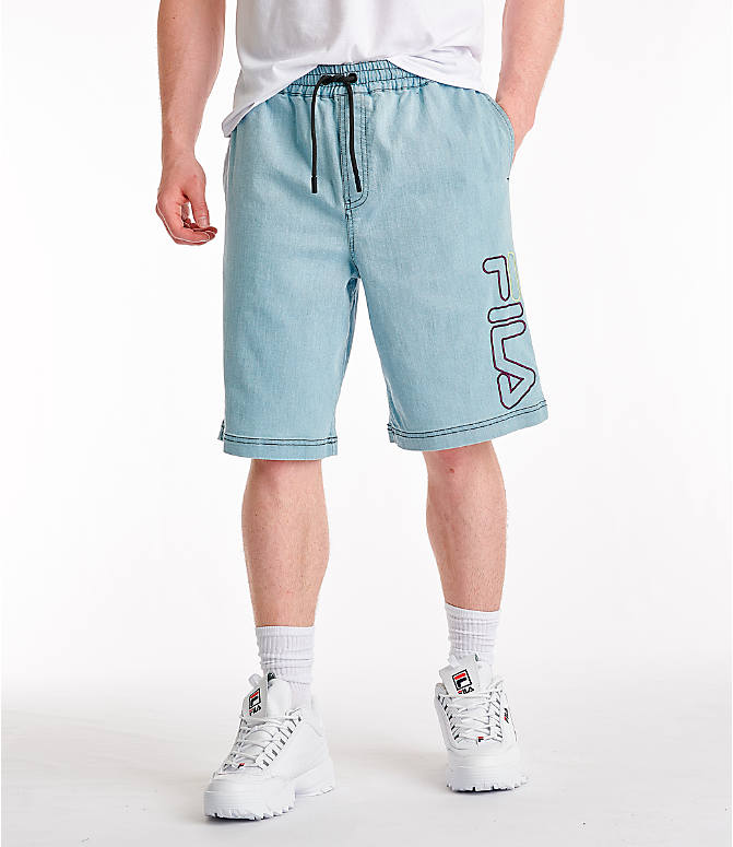Front view of Men's Fila Darwin Denim Shorts in Denim