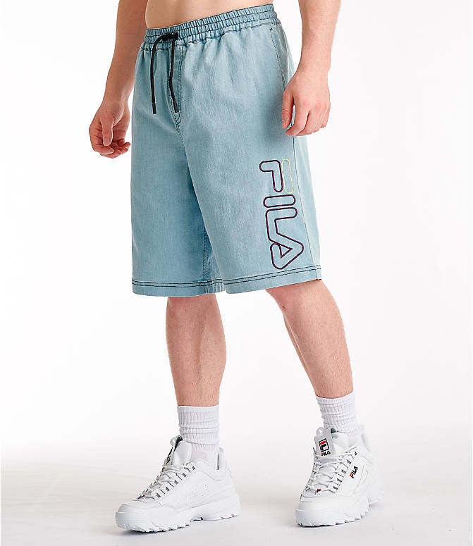 Front Three Quarter view of Men's Fila Darwin Denim Shorts in Denim