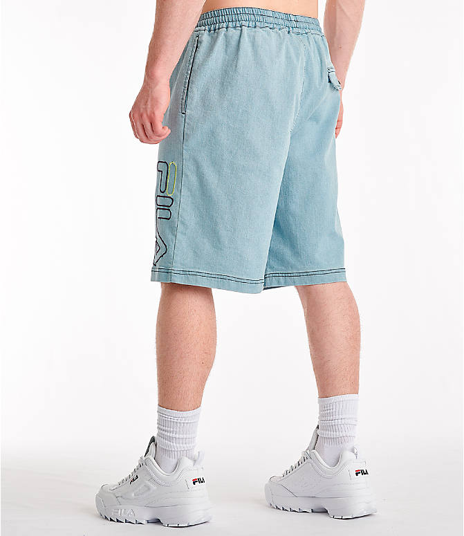 Back Left view of Men's Fila Darwin Denim Shorts in Denim