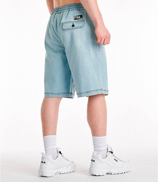 Back Right view of Men's Fila Darwin Denim Shorts in Denim