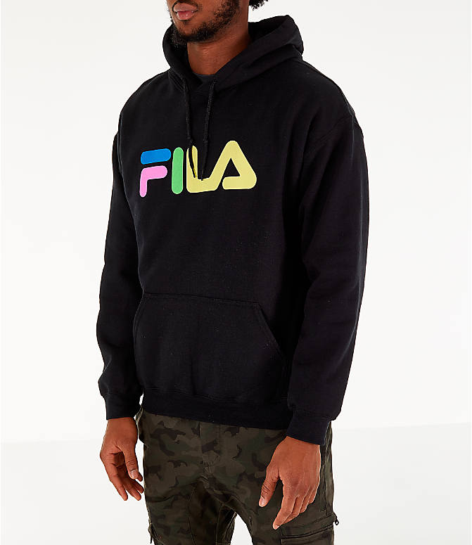 Front Three Quarter view of Men's FILA Technicolor Hoodie in Black