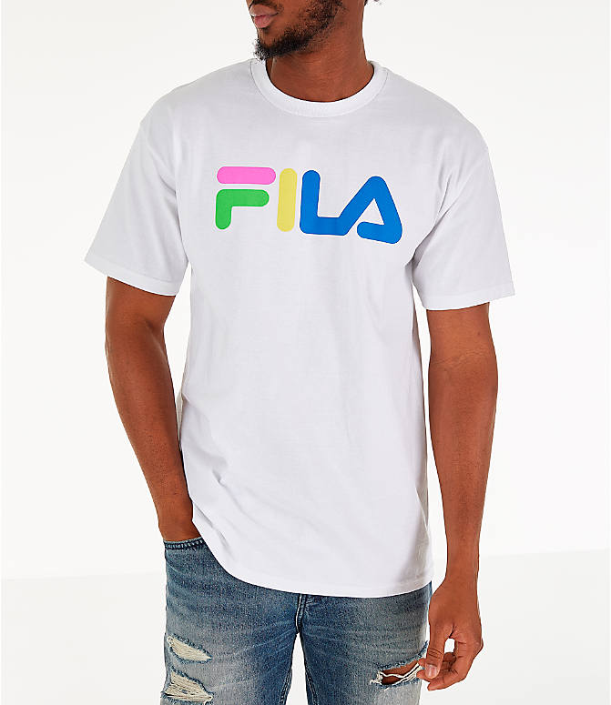 Front view of Men's Fila Technicolor T-Shirt in White