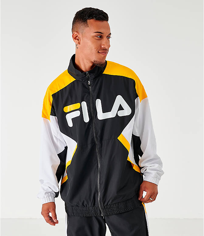 Front view of Men's Fila Oliviero Woven Track Jacket in Black/White/Yellow