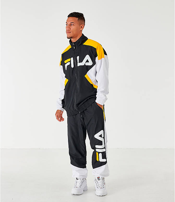 Front Three Quarter view of Men's Fila Oliviero Woven Track Jacket in Black/White/Yellow