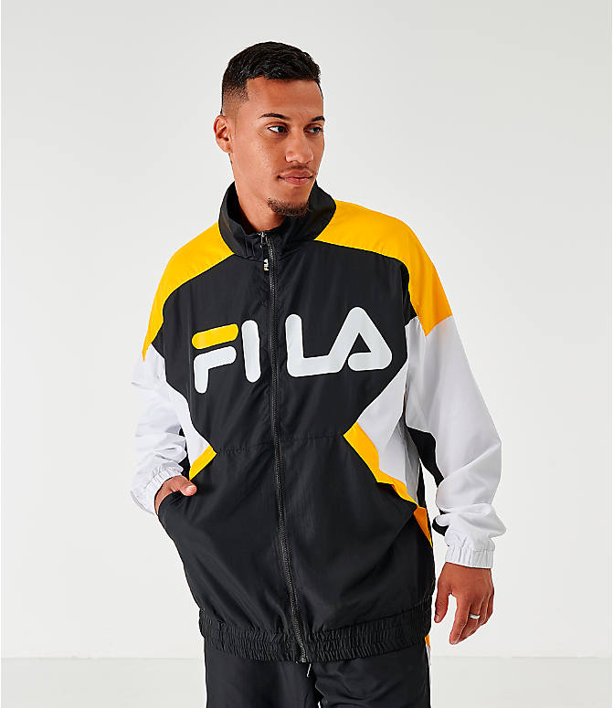 Back Left view of Men's Fila Oliviero Woven Track Jacket in Black/White/Yellow