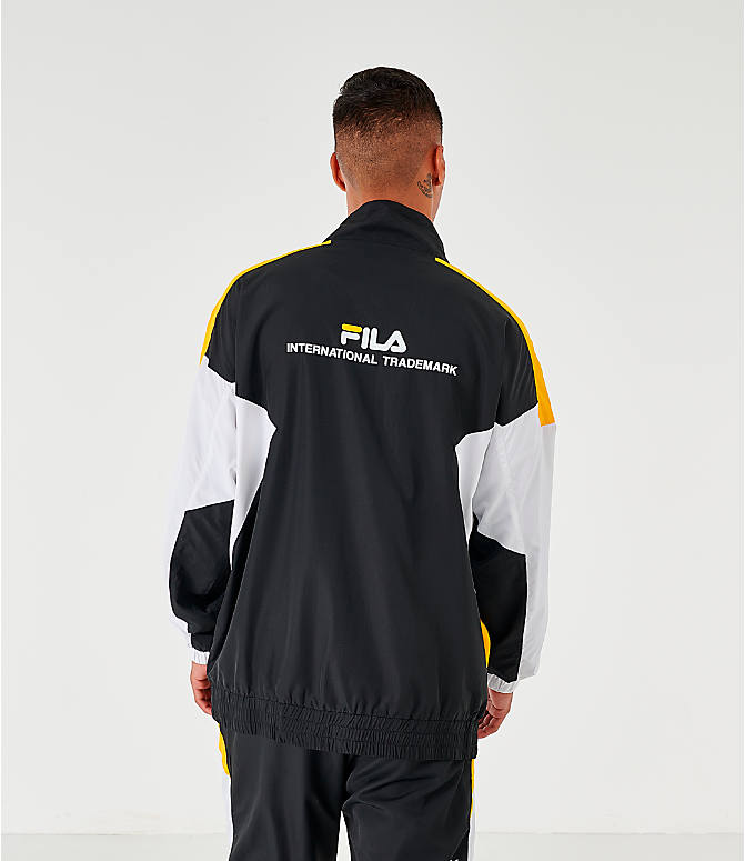 Back Right view of Men's Fila Oliviero Woven Track Jacket in Black/White/Yellow