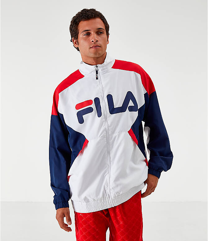 Front view of Men's Fila Oliviero Woven Track Jacket in White/Red/Navy