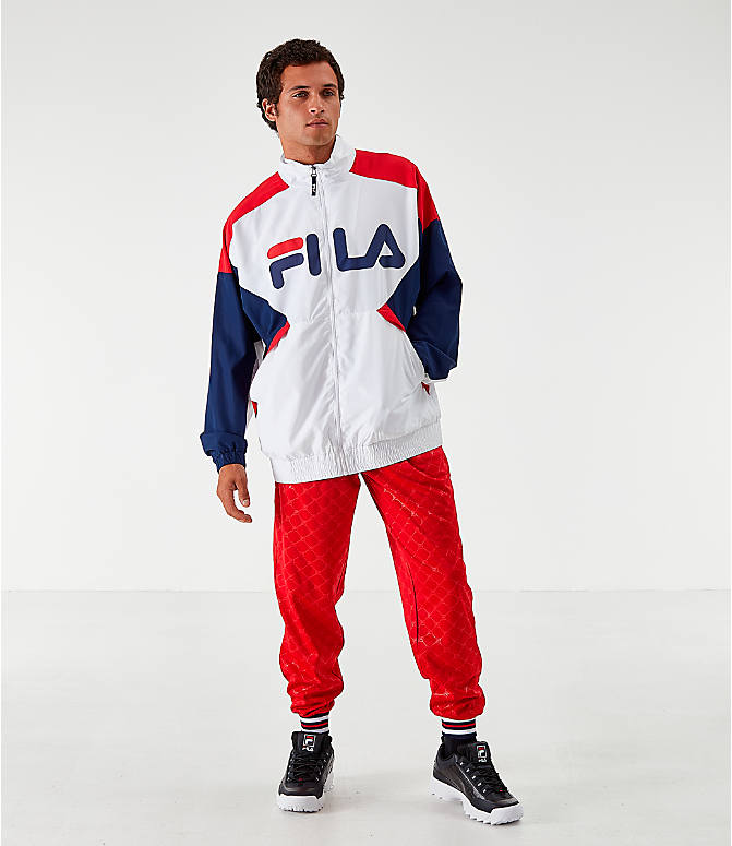 Front Three Quarter view of Men's Fila Oliviero Woven Track Jacket in White/Red/Navy