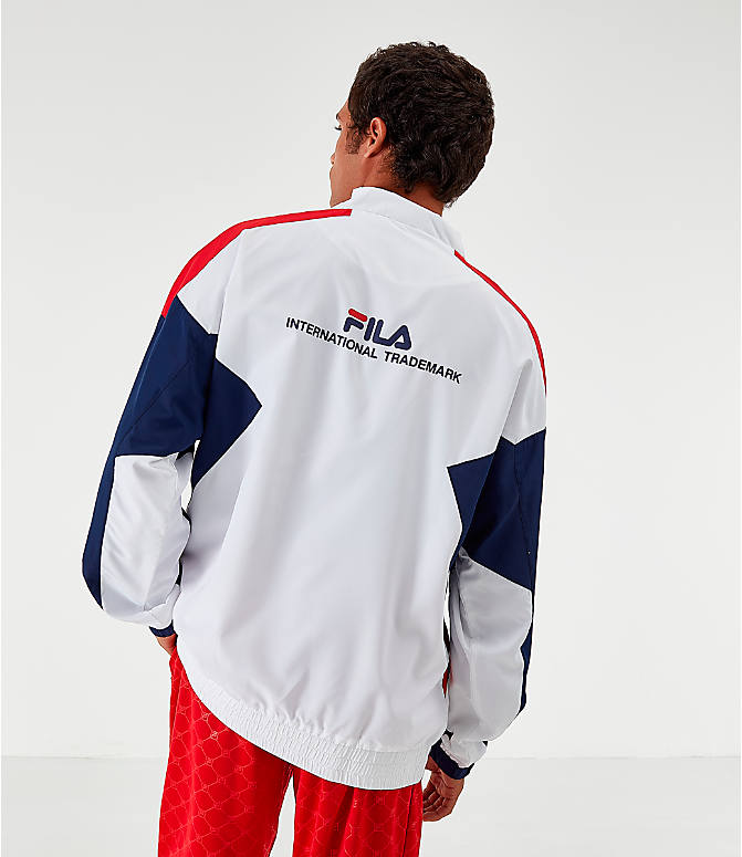 Back Left view of Men's Fila Oliviero Woven Track Jacket in White/Red/Navy
