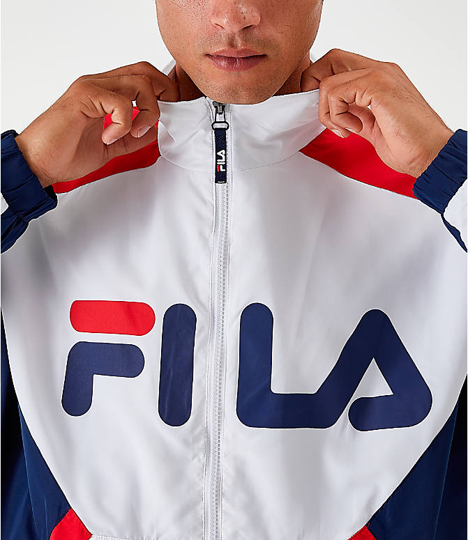 Back Right view of Men's Fila Oliviero Woven Track Jacket in White/Red/Navy