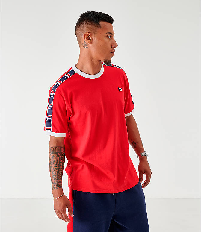 Back Left view of Men's Fila Luca T-Shirt in Red