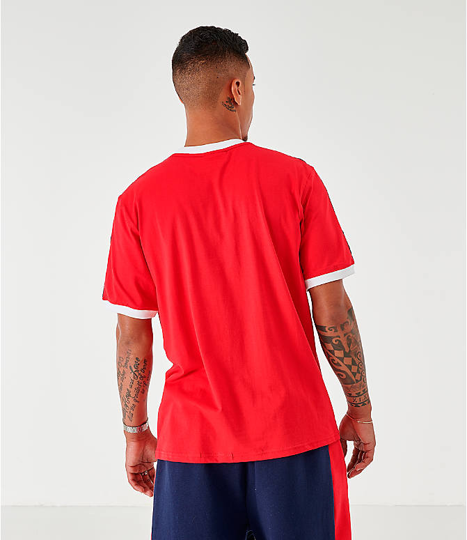 Back Right view of Men's Fila Luca T-Shirt in Red