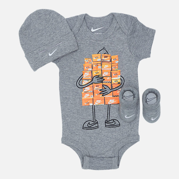 Front view of Infant Nike Sneaker Spree 3-Piece Set in Grey/White