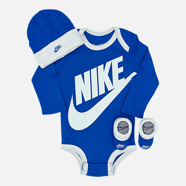 Front view of Infant Nike Long Sleeve Futura 3-Piece Box Set in Game Royal/White