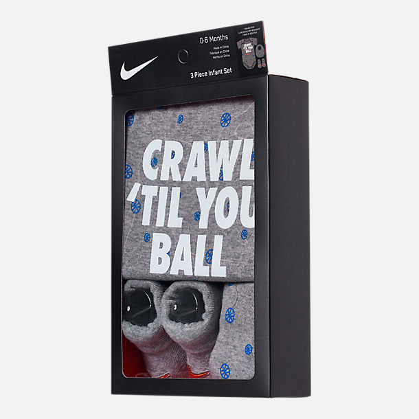 Back view of Infant Nike Crawl 'Til You Ball 3-Piece Box Set in Grey/Blue/Orange