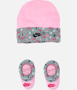 Infant Nike Allover Print Hat and Bootie Set