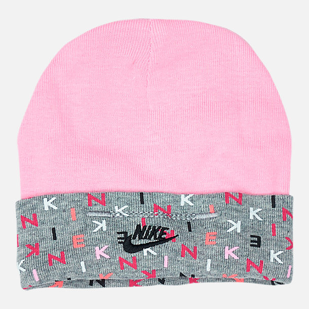Back view of Infant Nike Allover Print Hat and Bootie Set in Rush Pink/Dark Grey
