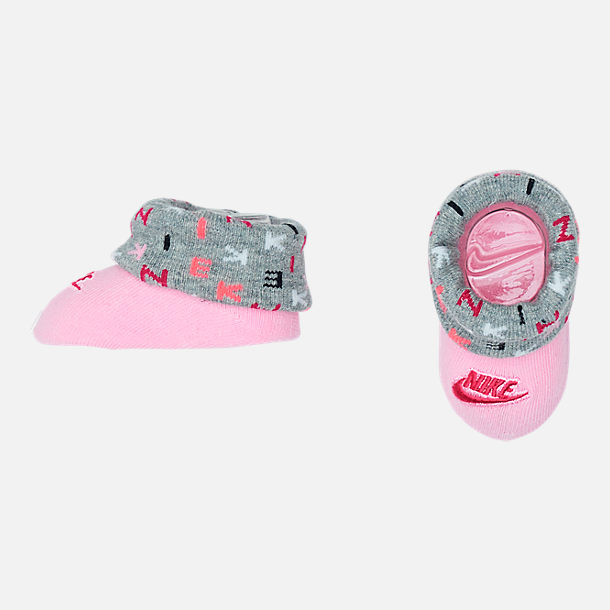 Alternate view of Infant Nike Allover Print Hat and Bootie Set in Rush Pink/Dark Grey