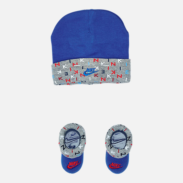 Front view of Infant Nike Allover Print Hat and Bootie Set in Blue/Red/Grey