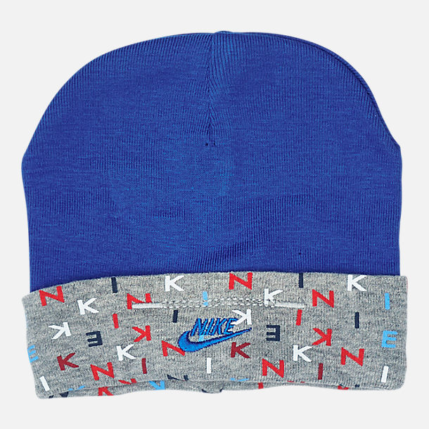 Back view of Infant Nike Allover Print Hat and Bootie Set in Blue/Red/Grey
