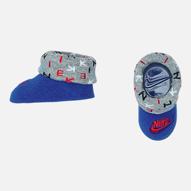 Alternate view of Infant Nike Allover Print Hat and Bootie Set in Blue/Red/Grey