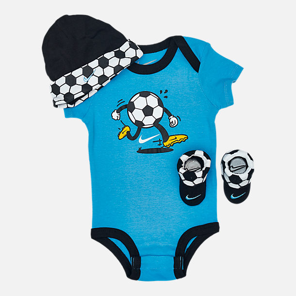 Front view of Infant Nike Sport Ball 3-Piece Box Set in Soccer/Black/Blue