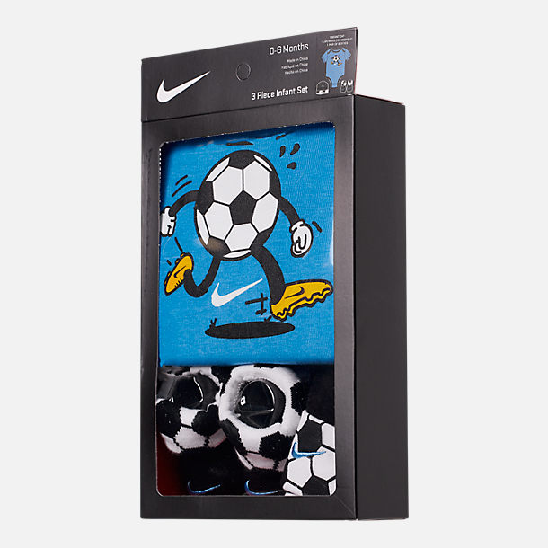 Back view of Infant Nike Sport Ball 3-Piece Box Set in Soccer/Black/Blue