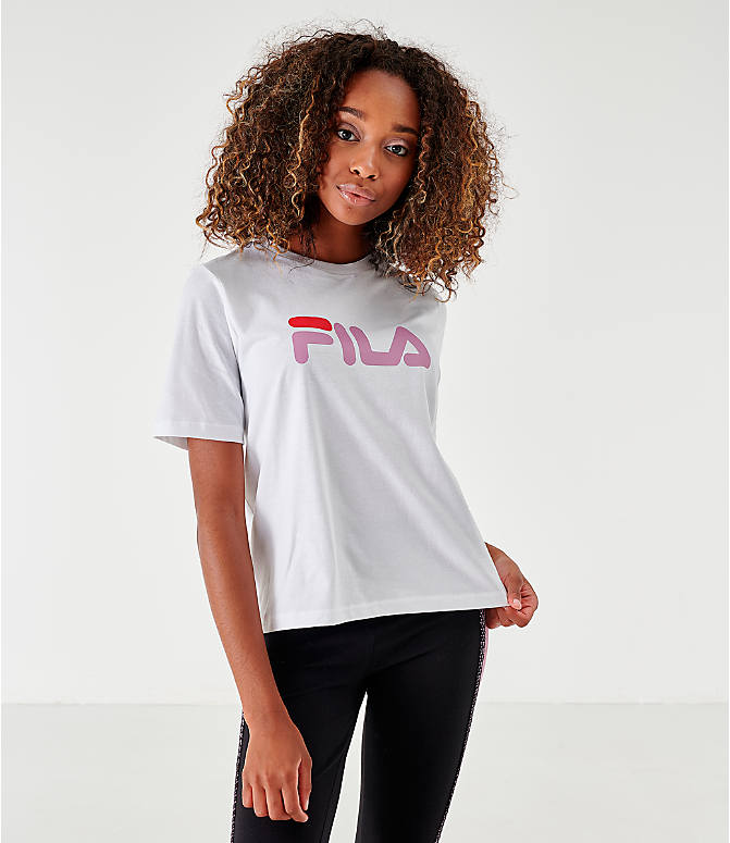 Front view of Women's Fila Miss Eagle T-Shirt in White/Pink/Red