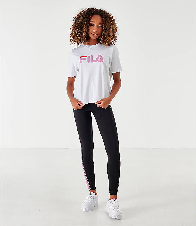 Front Three Quarter view of Women's Fila Miss Eagle T-Shirt in White/Pink/Red